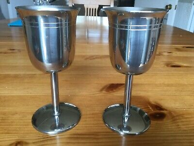 PAIR OF 1970's STAINLESS STEEL GOBLETS. • 3.50£