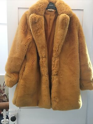 Women's Mustard/Yellow Furry Cosy Coat/Jacket Size S (fit Size 10-12) • 18.99£
