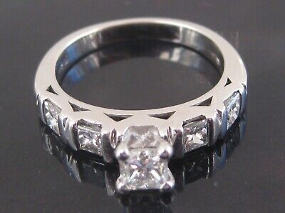18ct White Gold Princess Cut Diamond Solitaire 5 Stone Ring Size K 0.92 Carat  • 695£