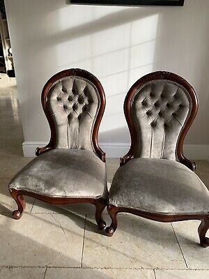 Pair Of Reproduction Chairs Covered In Designers Guild Velvet Fabric • 100£