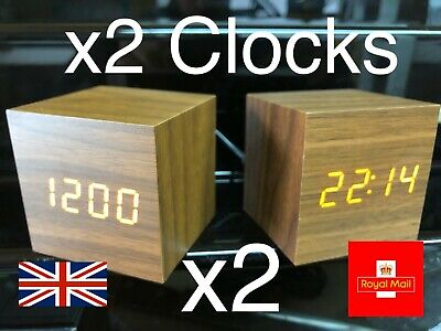 Wooden LED Digital Clock Alarm Clock Time Thermometer Calendar USB AAA Batteries • 13.95£
