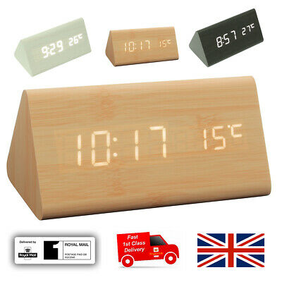 Wooden Triangle Clock LED Digital Alarm Clock Time Thermometer USB AAA Batteries • 15.80£