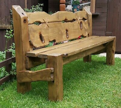 £349 • Buy Wooden Garden Bench Rustic Chunky Dark Oak Stained Outdoor Patio Furniture