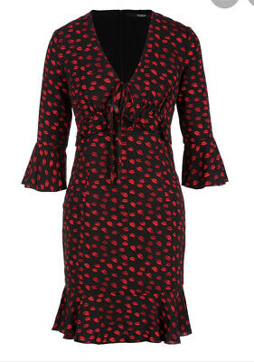 Guess Dress Size 6 Black / Red Lips Design NEW WITH TAGS • 13.50£