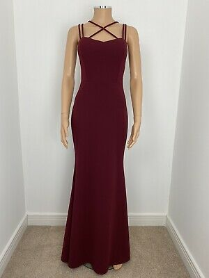 Wal G Thin Cross Straps Maxi Flared Fishtail Dress Burgundy Red Size 12 New  • 19.99£