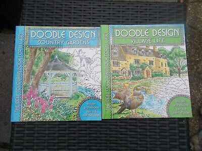 2x Doodle Design - Village Life & Country Gardens - Colouring Books For All Ages • 5£