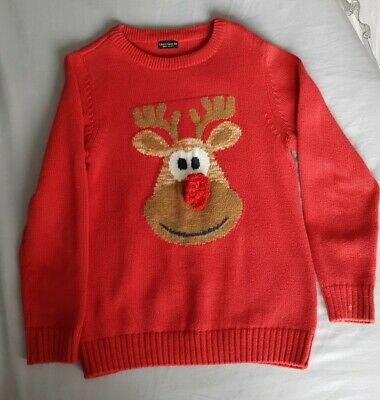 Unisex Red Rudolph Christmas Jumper, NEXT, 9 Years, Used, GC • 0.99£