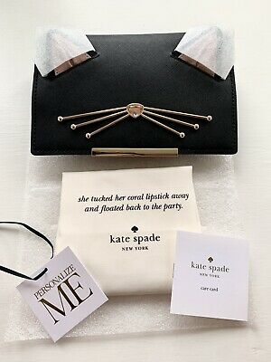 Kate Spade New York Make It Mine Women's Cat Flap Bag Accessory Black Leather • 24.99£
