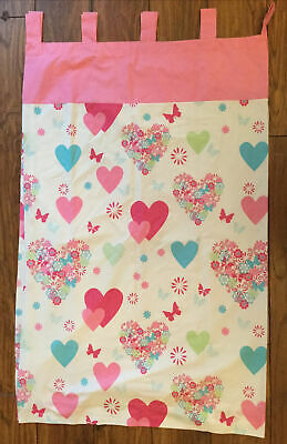 """Pair Pink White Love Heart & Floral Tab Top Curtains - 54"""" X 64"""" - George • 15£"""