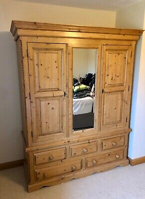 Solid Pine Wardrobe With Dovetail Made Drawers And External Mirror. • 101£
