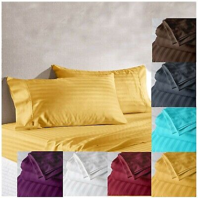 AU56.35 • Buy Satin Striped Sheet Cotton Fitted Bedsheet Luxury Wrinkle Resistant Bedding Set