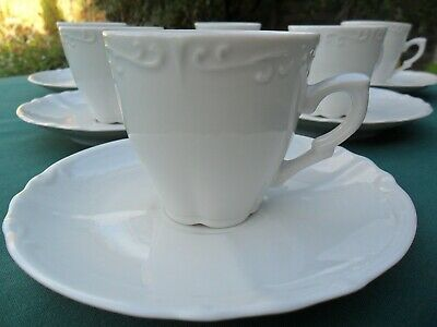6 White  ' Deshoulieres ' Expresso Coffee Cups & Saucers - Made In France • 15£