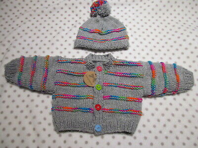 NEW  Hand Knitted Baby Boy/girl Set Cardigan  And Hat  0 To 3 Months • 8.40£