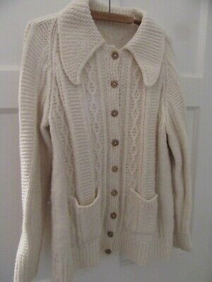 Vintage Aran Cable Cream Hand-Knitted Cardigan 2 Pockets Pre-Owned • 9.50£
