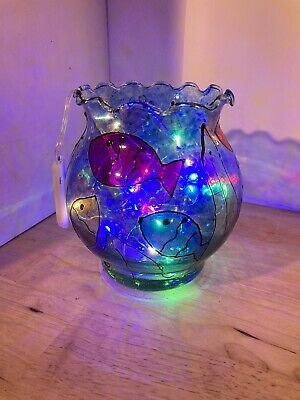 HAND PAINTED Recycled GLASS FISH Bowl 20 LED FAIRY LIGHTS Battery Operated • 9.50£