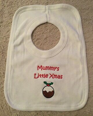 £1.99 • Buy Babies Toddler Embroidered Mummy's Little Xmas Pudding Christmas Dinner Bib New