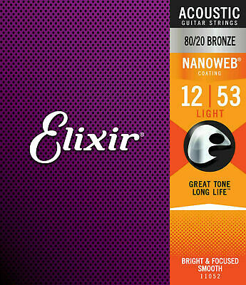 $ CDN15.84 • Buy Elixir 11052 Acoustic Guitar Strings - Nanoweb 80/20 Bronze - Light 12-53