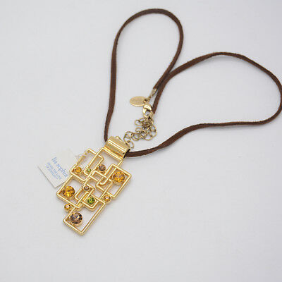$ CDN9.07 • Buy Lia Sophia Jewelry Gold Filled Maze Pendant Necklace Cut Crystals Leather Chain