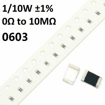 $0.99 • Buy 0603 SMD/SMT Resistors/Resistance 1/10W ±1%- Full Range Of Values (0Ω To 10MΩ)
