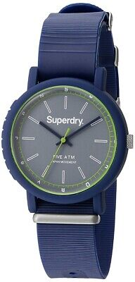Superdry Men's Watch With Grey Dial And Blue Silicone Strap SYG197U • 20£
