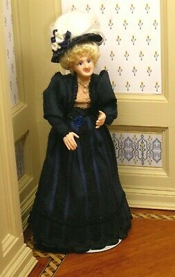 $ CDN256.37 • Buy Debra Hammond Elder Lady Doll In Black Dress Artisan Dollhouse Miniature
