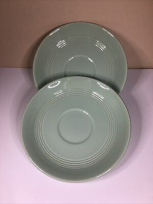 2 Vintage Woods Ware Green Beryl Saucers  14.5cm From 1940-59 • 4£