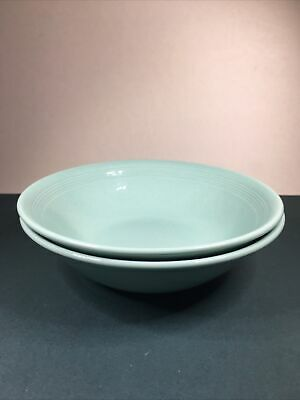2 Vintage Woods Ware Green Beryl Straight Edge Soup Cereal Bowls 16.5cm 1940-59 • 7£