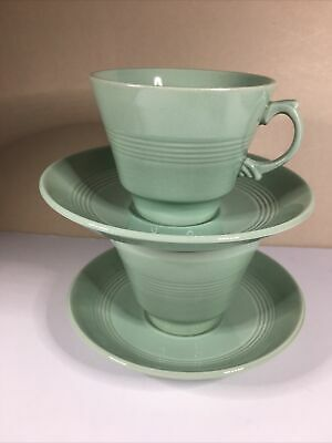 2 Vintage Woods Ware Green Beryl Tea  Cups And Saucers 1940-59 • 8£
