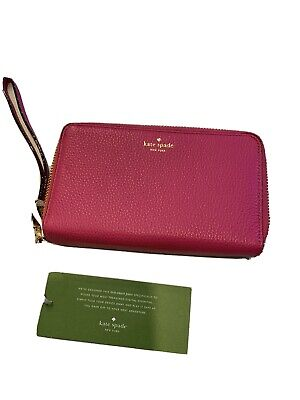 $ CDN82.07 • Buy Kate Spade Leather Wristlet Wallet With Double Zipper, Pink NWT