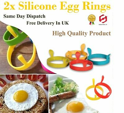 2 X  Silicone Egg Frying Rings Fry Fried Poacher Mould Perfect For Pancakes Ring • 2.99£