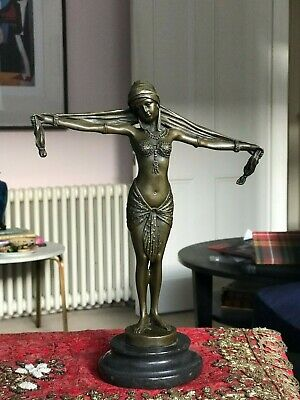 Stunning Art Deco Lady With Scarf By D.h.chiparus Bronze Statue On Marble 28cm • 159£