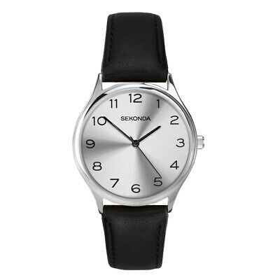 Sekonda Mens Classic Watch With Silver Dial And Black Leather Strap 1851 • 20£