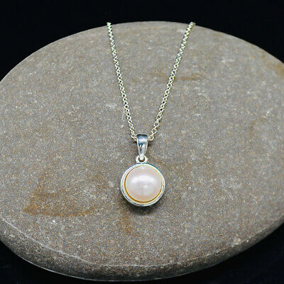 """$44.17 • Buy Mabe Pearl Sterling Silver Pendant & Matching Necklace 17"""" Long Ref:580"""