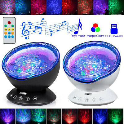 Calming Sensory LED Projector Night Lights Ocean Wave Relax Music Lamp Kids Gift • 14.49£