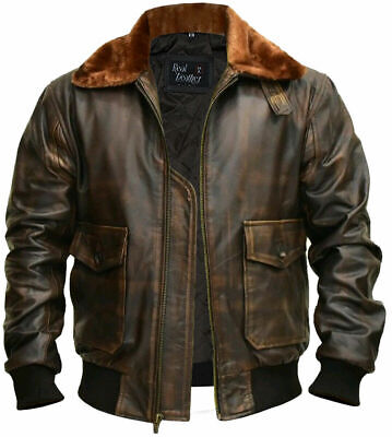 $99.99 • Buy Aviator A-2 Real Cowhide Distressed Leather Bomber Flight Jacket Vintage Brown