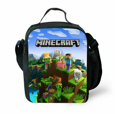 AU24.59 • Buy Kids Minecraft Insulated Lunch Box Bags Boy Girl School Picnic Snack Cool Bag AU