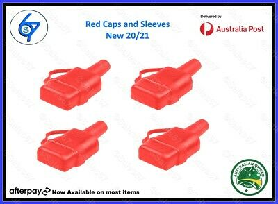 AU14.95 • Buy 4 Waterproof 50A Anderson Plug Dust Cable Sheath Cover Red With Cap, New 20/21