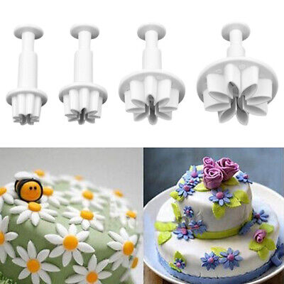 4x Daisy Flower Fondant Decorating Biscuit Cutter Mold Cake Tools DIY Mould • 2.19£