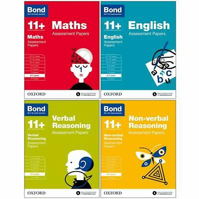 Bond 11+Maths,English,Verbal,Non-verbal Assessment Papers 6-7 Years 4 Books Set • 17.98£