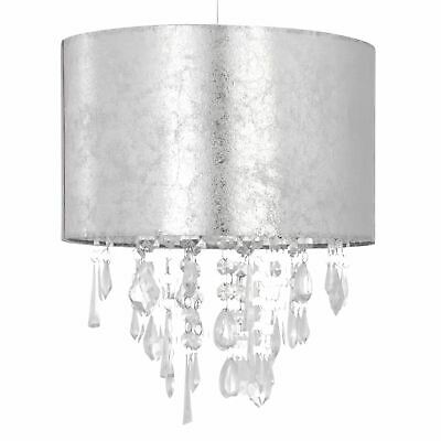 Modern Silver Marble Effect Jewelled Ceiling Light Shade Chandelier Pendant • 18.99£