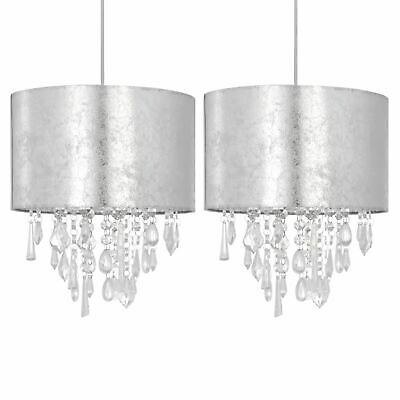 Set Of 2 Silve Marble Effect Jewelled Ceiling Light Shades Pendant Lightshades • 34.99£