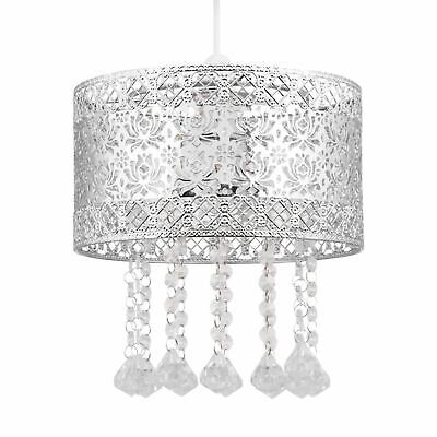 £15.99 • Buy Modern Chrome Metal Jewelled Easy Fit Ceiling Light Shade Chandelier