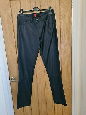 Captain Tortue Leather Look Trousers Size 40/12 Navy RRP £67 • 4.30£