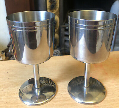 Pair Of Stainless Steel Wine Goblets • 5£
