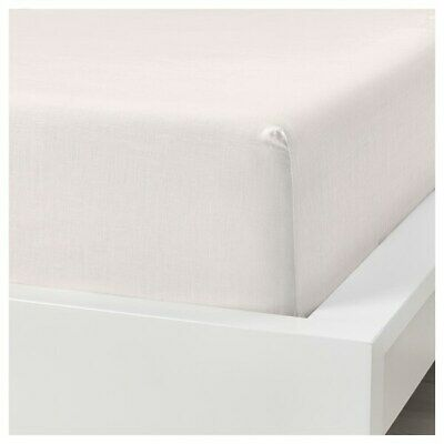 £19.99 • Buy Ikea Puderviva Single Size Linen Fitted Sheet WHITE 90 X 190 X 36cm 303.984.90