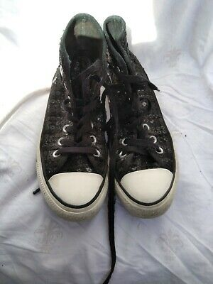 Converse All Stars Size 4 Black Sequin Canvass Ankle Boots • 14£