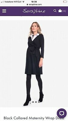 Seraphine Maternity/nursing Black Wrap Dress With White Collar Size 8 • 3£