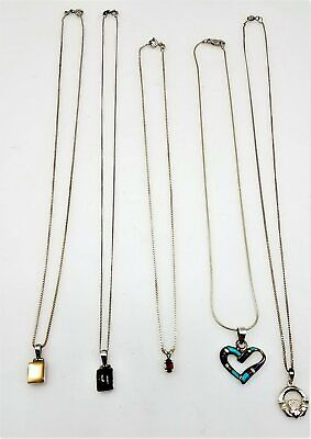 $ CDN12.93 • Buy Lot Of 5 925 Sterling Silver Pendant Necklaces LB1462