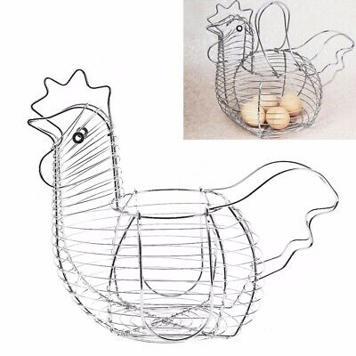 Hen Shaped Chicken Egg Wire Chicken Storage Display Basket Holder Rack Kitchen↗ • 9.49£