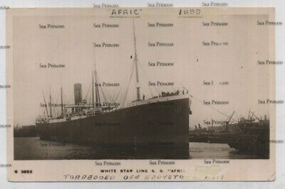 White Star Line Postcard RMS Afric Of 1899 Sunk 1917 Off Eddystone Lighthouse • 15£